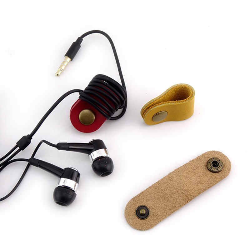Wholesale OEM Leather Earphone Cable Winder Earphone Cable Wrapper Cable Manager