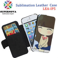 2014 Sublimation Leather Mobile Phone Case for iphone 5