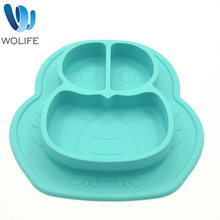 Wo Silicone Divided Toddlers Plate, Easy to Clean, Dishwasher and Microwave Safe Soft and Unbreakable Organic Silicone Placemat