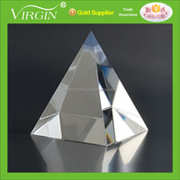 Hot sale Colorful shinning K9 Crystal Glass Pyramid Paperweight with Logo Customized as wedding gifts or office decoration