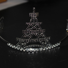 3.3 inch black rhinestone tower tiara for quene