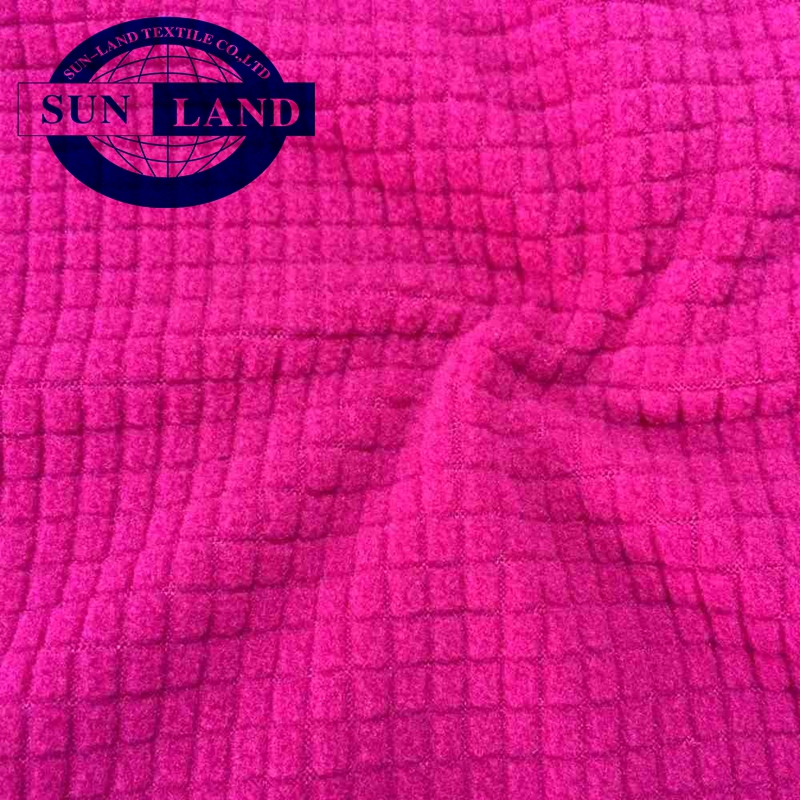 sports apparels red stock 100% polyester waffle single side brushed polar fleece fabric