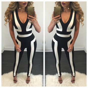 B33618A African women autumn stripe design Jumpsuit
