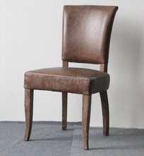 Vintage Reclaimed Wood Brown Leather Dining Chairs