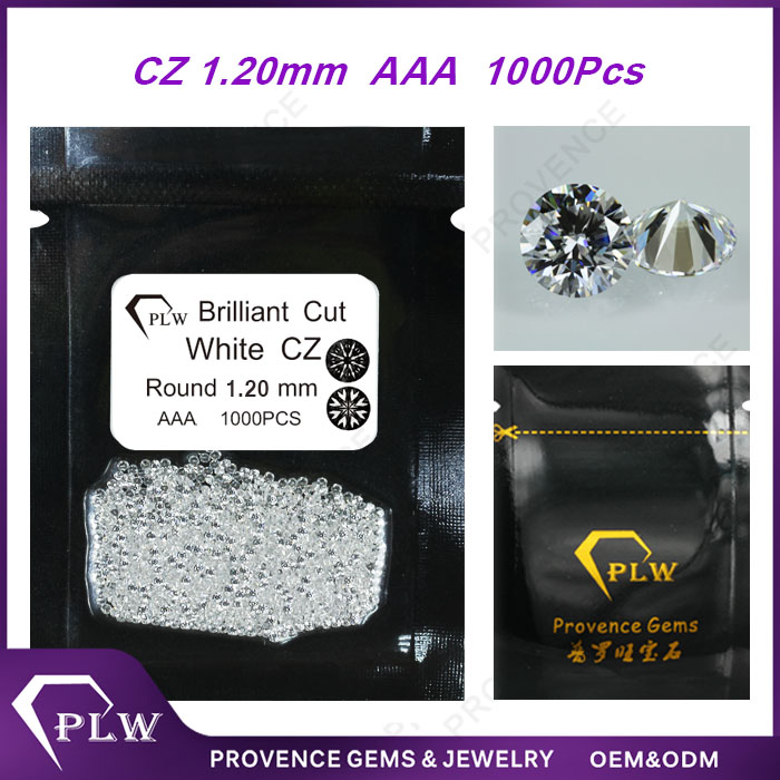 Factory price synthetic AAA grade 1.2mm round brilliant cut white cz stone small gemstones for sale