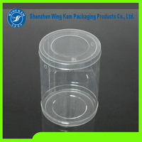 Custom food packaging clear plastic cylinder container/canister/can with easy open lids