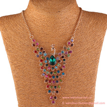 Delicate Peacock Full Crystal Manufacturers Selling Zinc Alloy Necklace