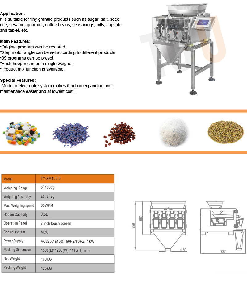 automatic/semi-automatic packing machine for sugar,coffee bean,salt,powder,seed,nuts,etc