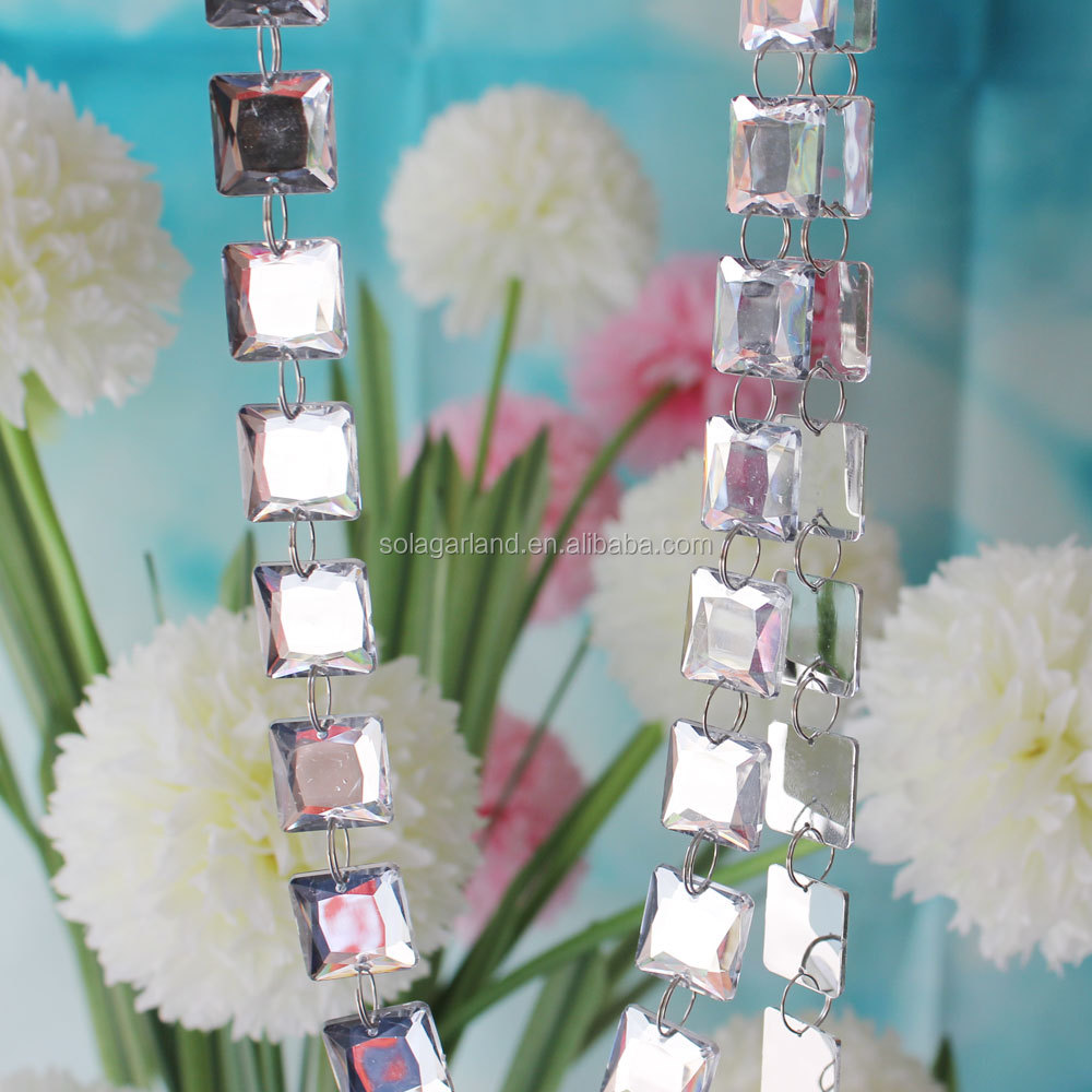 wholesale price mirror acrylic cut facet beaded strands decoration silver garland
