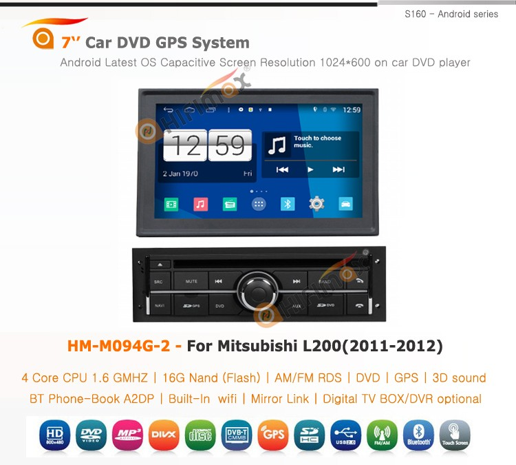 HIFIMAX Android 4.4.4 quad core 16G car radio for Mitsubishi L200 car stereo car multimedia system touch screen HD 1024*600