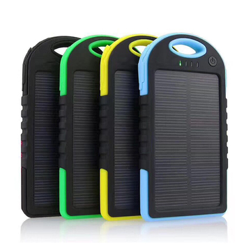 Portable solar power bank 8000mah waterproof 2 ports for mobile phone