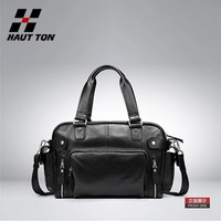 Stylish soft genuine leather travel bag for men