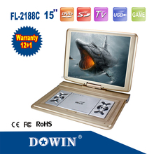 15 inch portable dvd player withwide voltage battery & large screen manufacture wholesale OEM nice quality warranty home family