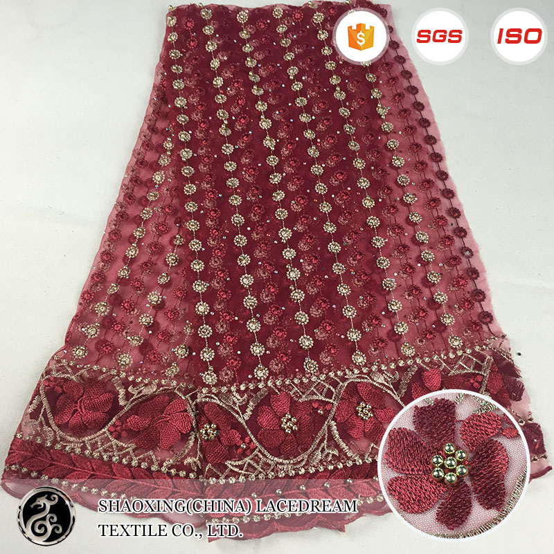 SGS standard wholesale new red pearls sequin beaded lace embroidery fabric