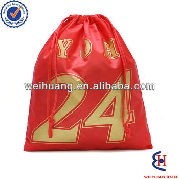 190T polyester red drawstring bag polyester
