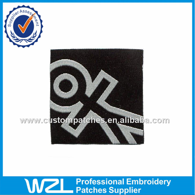 Wholesale cheap price wash woven label tags of hem woven label
