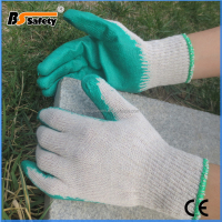 BSSAFETY bleach cotton lined green rubber coated safety gloves work for Saudi Arabia importer etc.