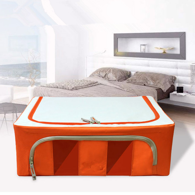 Orange Double Window Oxford Fabric Storage Box 33L finishing Bin Storage Box Folding Metal Frame