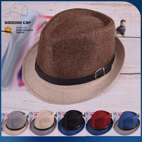 men's vintage crimping brim straw hat stitching color fedora hat paper straw hat
