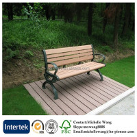 Hot sale wood plastic composite garden bench, wood plastic composite park bench, wood and metal park bench