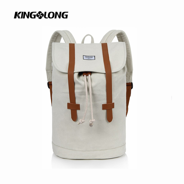 Casual College Style Mint White Color Outdoor Backpack with label logo