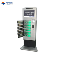 Outdoor battery charger coin operated solar mobile phone charging station with 6-bay doors APC-06B
