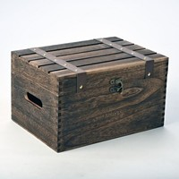 Dark Brown Hamper Storage Box with Hinged Lid and Straps 35cm