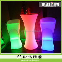 Multi color change decorative led round bar table