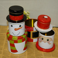 wholesale hot sale Christmas Snowman cookie tin box in stock