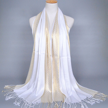 Wholesale cotton muslin hijab gold silk with tassel shawl scarf