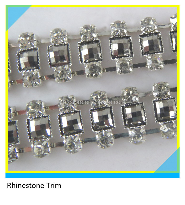Shiny Wholesale Metal and Crystal Strass Stone Chain trim For Boots Decoration