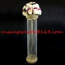 Tall crystal pillar wedding floor stand gold wedding centerpiece