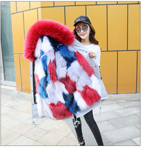 Fashion womens long winter jacket coat for silver fox sable fur collar coat
