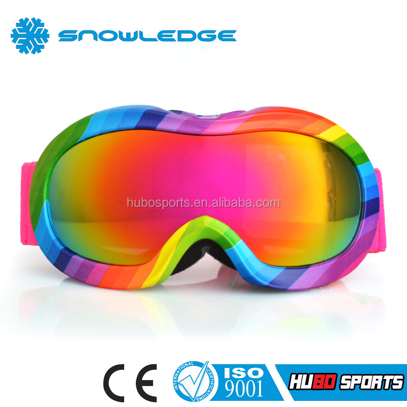 Colorful Popular Style Neon Fram CE&ISO Standard Kids&Junior Ski Goggles