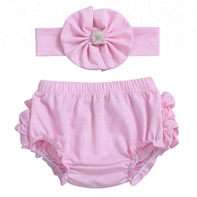 Lovely Pink Baby Girls Ruffle Bloomers Wholesale Baby Bloomers & Headband Set