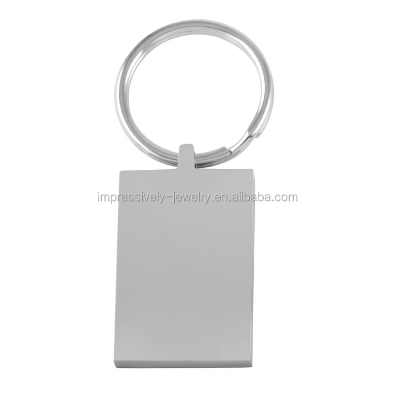 IJK0035 high polished rectangle engravable blank stainless steel keyring