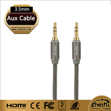3.5mm mini jack braided aux cable for car audio dvd player auxiliary cable