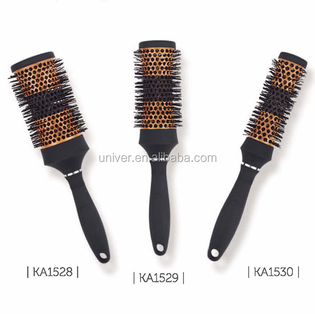 Plastic Handle Aluminium Barrel Bristle + Nylon Hair Brush KA1528-KA1530