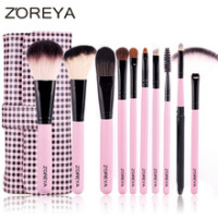 ZH101 Purple Stock 10pcs Natural Hair Professional Makeup Brush Set