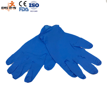 CE approved examination Disposable blue nitrile gloves
