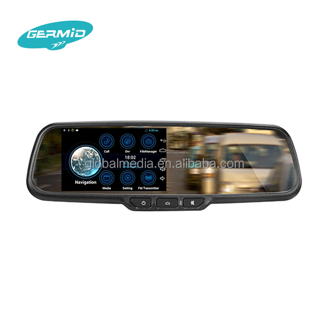 Germid Android GPS navigation RearView Mirror built-in 1080P DVR ,Wifi function with buterfly back-up camera