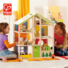 Top Hot Sale Newly Design safety role play wooden toys colorful doll house