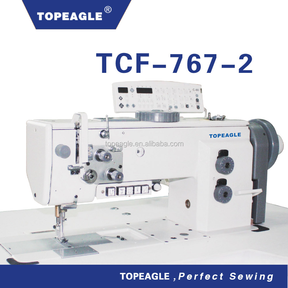 TOPEAGLE TCF-767-2 double needle flat bed compound feed walking foot sewing machine heavy duty