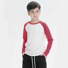 Kids 180gsm 100% cotton raglan long sleeve t shirt color contrast plain t shirts for custom printing children clothing wholesale