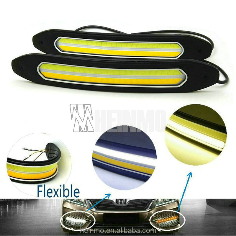 NEW 2 in 1 Soft DRL Daytime Running Light Turn Lights LED COB Day Lights DRL Turning Signal Lamps