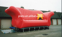 Newly design three person large inflatable red long sofa /soft inflatable funiture for outdoor advertising