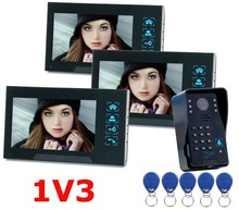 Saful wired video door phone 7 inch unlock With RFID code keypad Doorbell Camera Wholesale