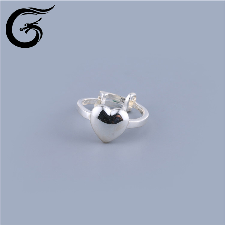 GuoLong popular fine jewelry pure silver heart rings for women ring for children