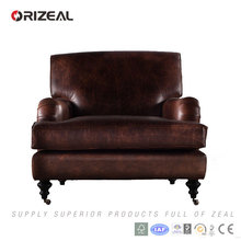 Orizeal Living Room Leather Chair, 100% Genuine Top Grain Leather Upholstered Chair