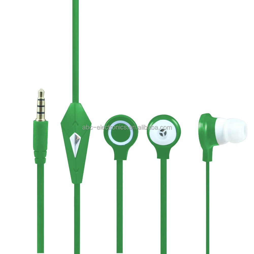 New Arrival electronics products 3.5mm Connectors green earbud brand logos